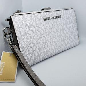Nwt mk double zip wristlet bright white